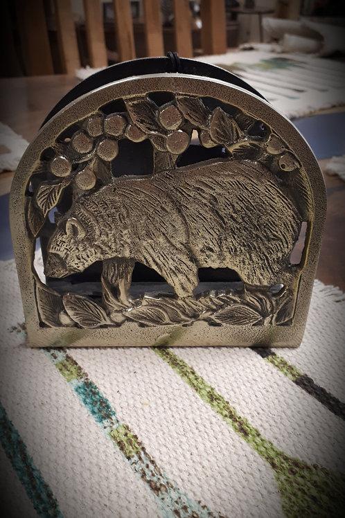 Black Bear Metal Napkin Holder