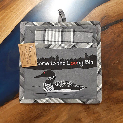 Welcome to the Loony Bin Potholder & Dishtowel Set