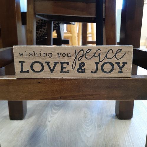 Love, Peace & Joy Block Sign - Small