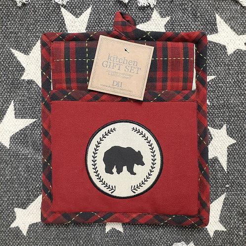 Bear Woods Potholder & Dishtowel Set