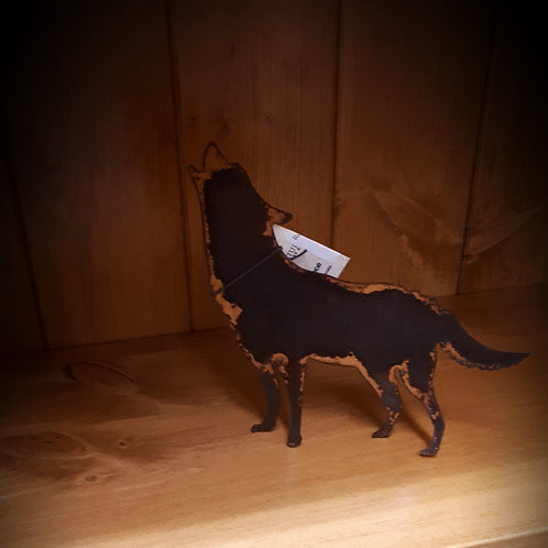 Rusted Metal Stand Alone Wolf