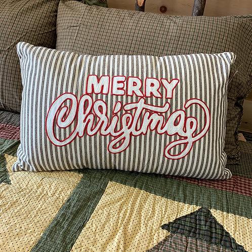 Merry Christmas Stripe Pillow