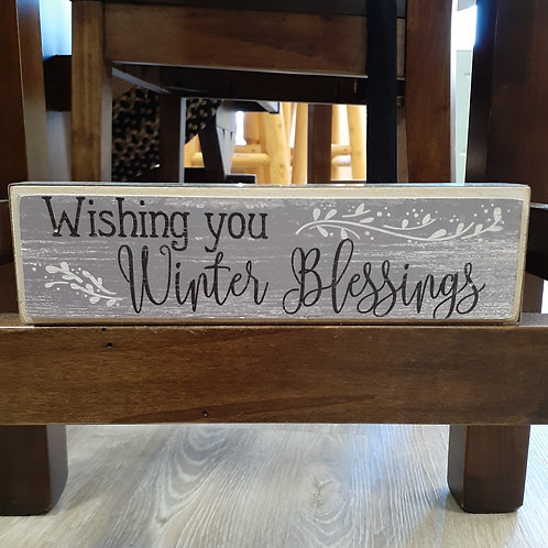 Winter Blessing Block Sign - Small