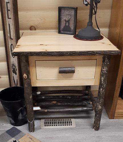 Hickory Log Nightstand