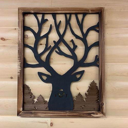 Wood Framed Big Buck Cut Out Sign