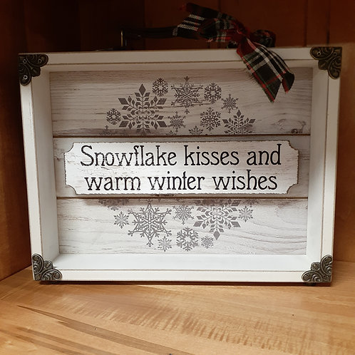 Snowflake Kisses and Warm Winter Wishes Sign