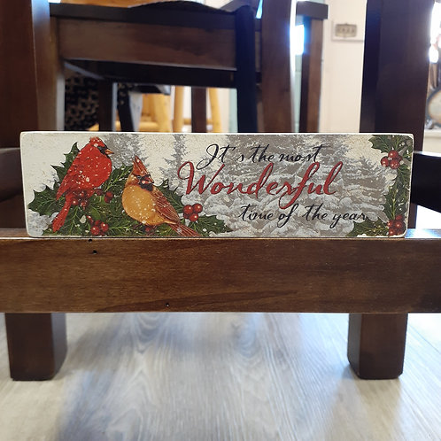 Wonderful Time Of The Year Block Sign - Small