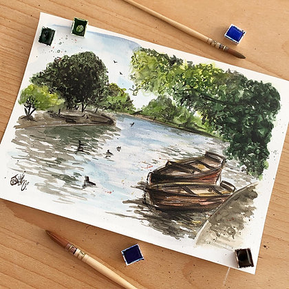 Framed Original 'Boating Lake' Painting