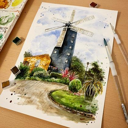 'Waltham Windmill' Print