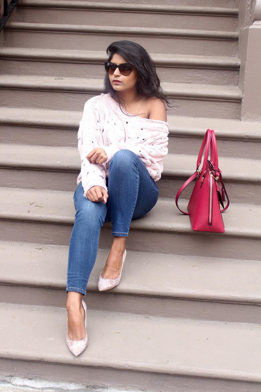 blush pink slouchy sweater