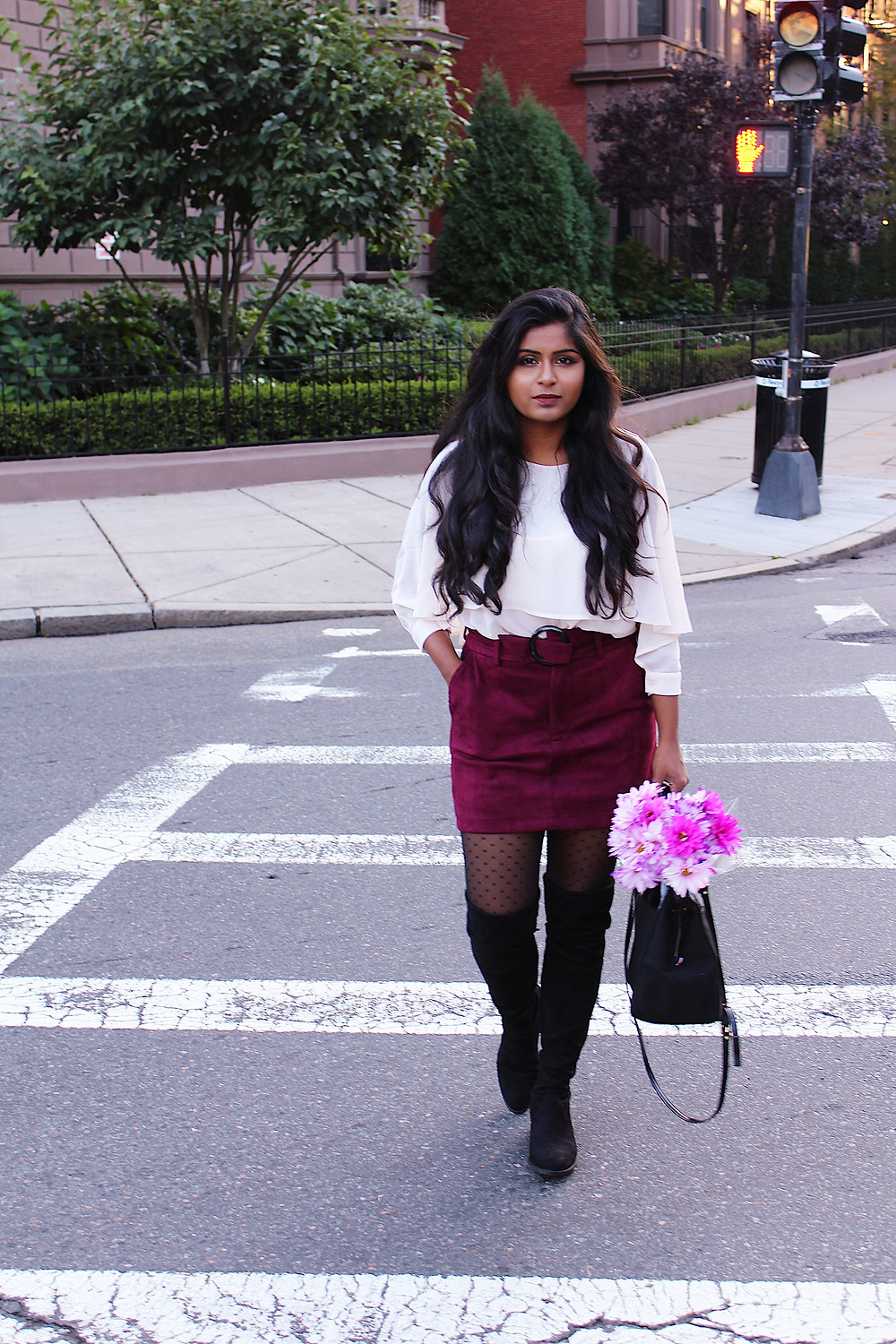 suede skirt and over the knee boots