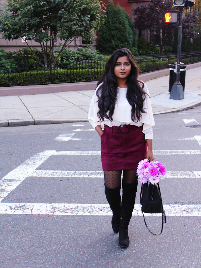 SUEDE SKIRT WITH BLACK OTK BOOTS