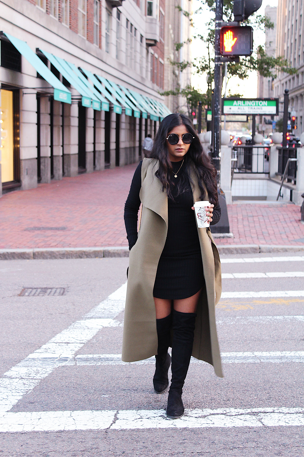 black dress with Over the knee boots