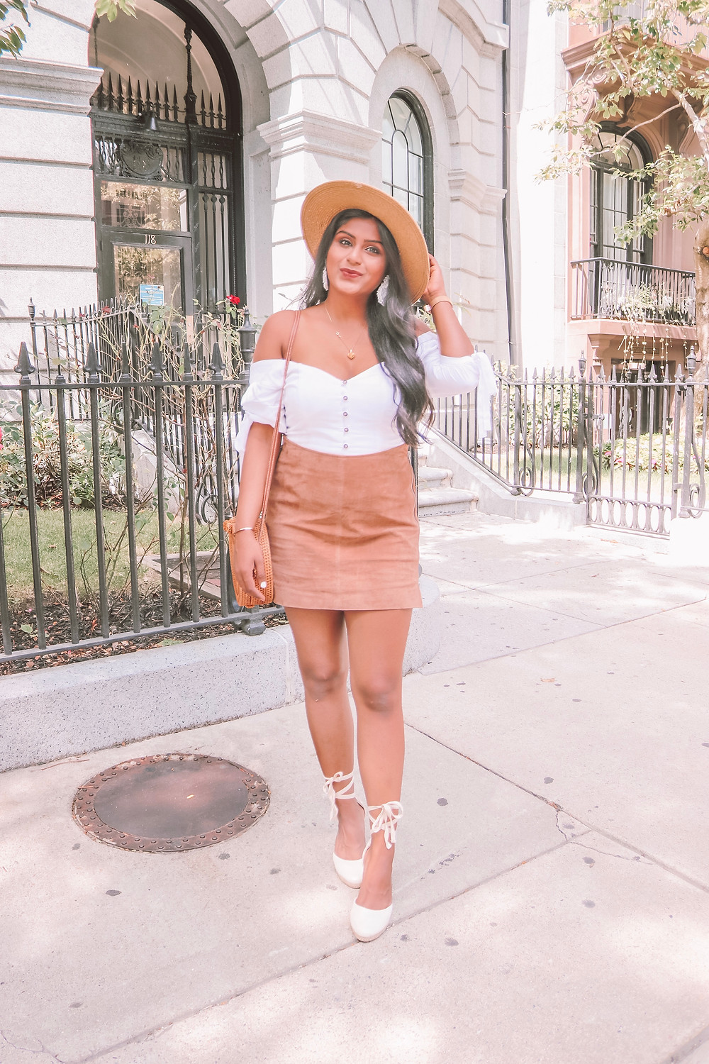 suede skirt with white top