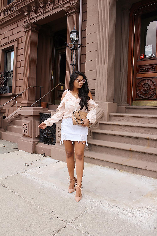 cold shoulder top with white denim skirt