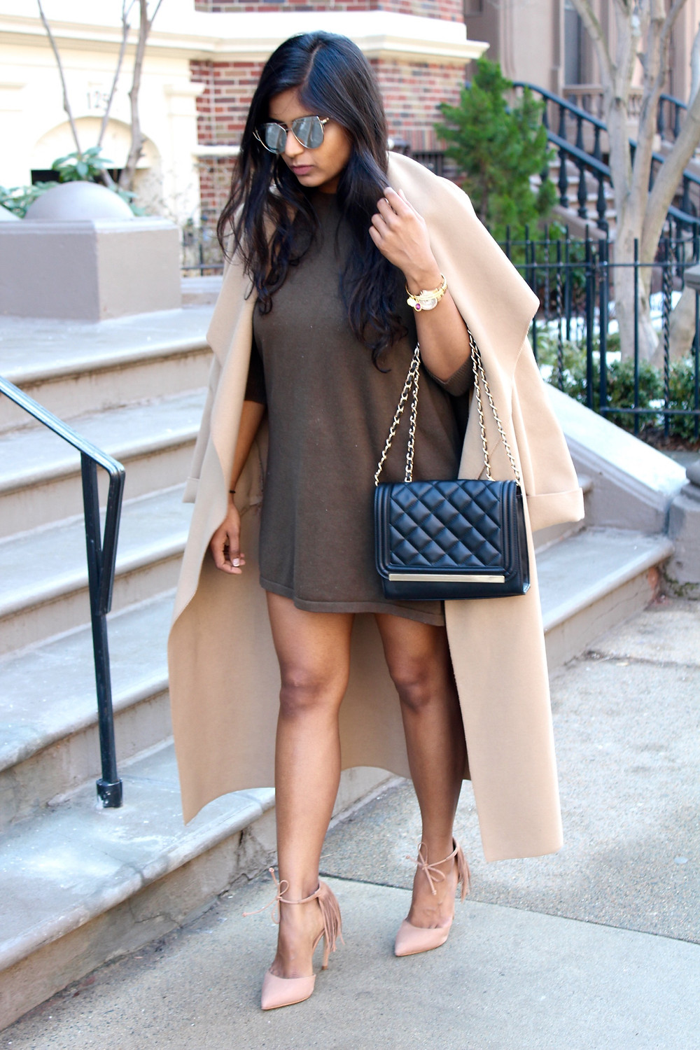 NEUTRAL COAT AND SWING DRESS