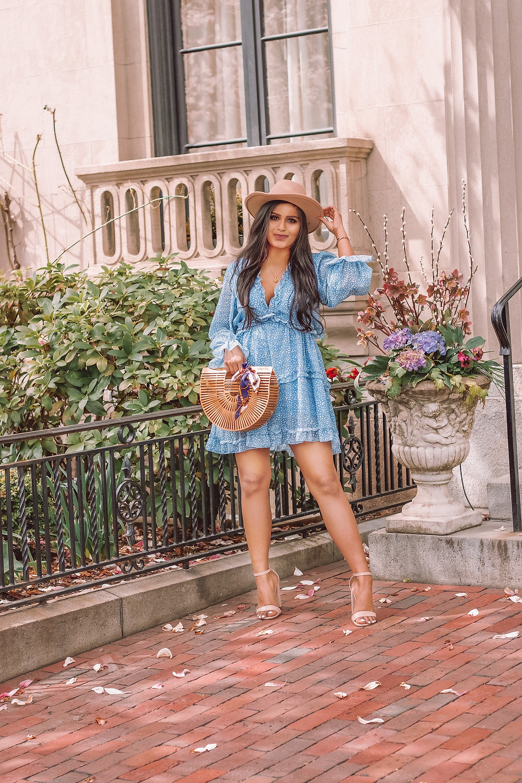 blue long sleeve ruffle mini dress