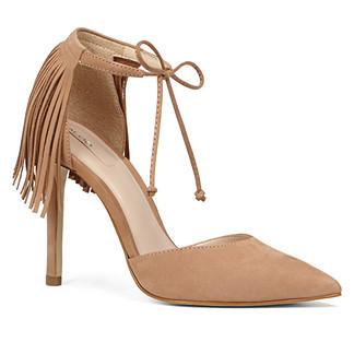 beige fringe heels