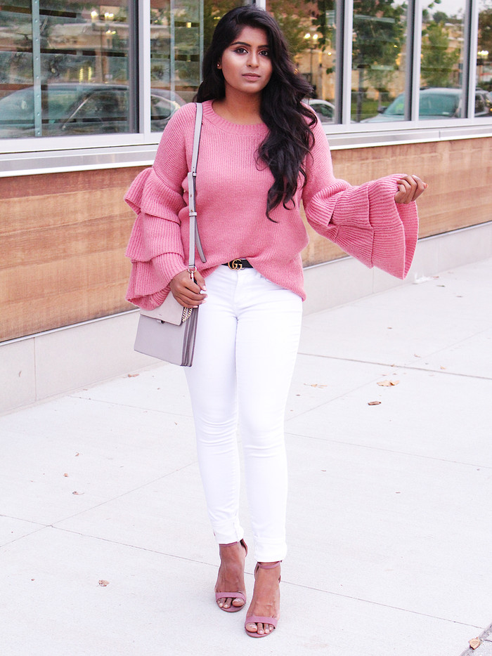 BLUSH TIERED SLEEVES SWEATER