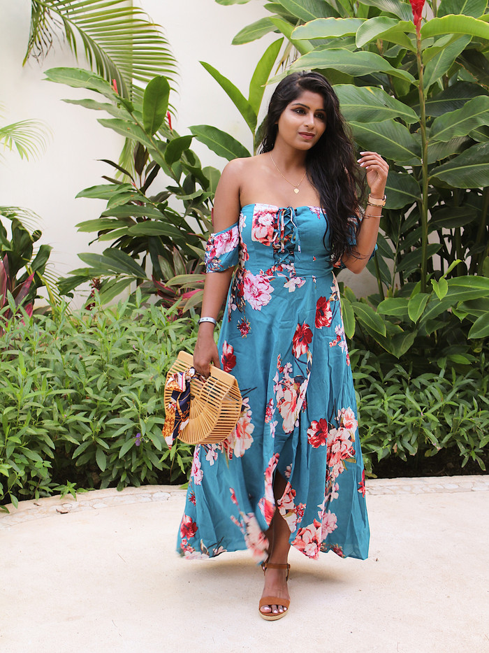 FLORAL OFF SHOULDER VACATION DRESS