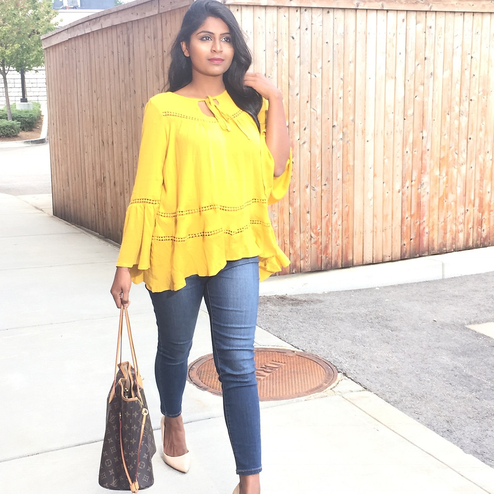 BELL SLEEVE YELLOW BLOUSE