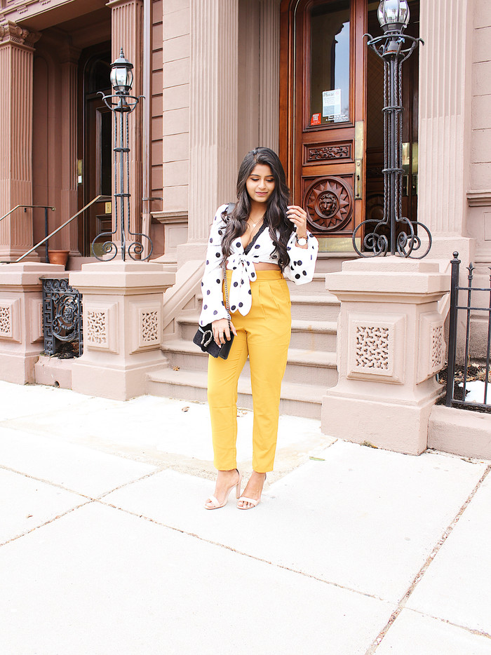 SPRING LOOK WITH POLKA DOT TOP