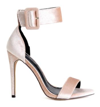 Nude Velvet Strap heels