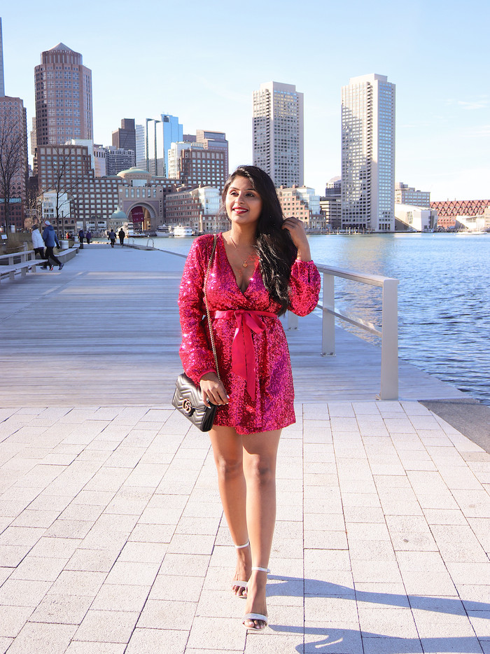 Pink Sequin Dress for Valentine's Day