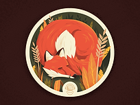 Custom Illustration, illustration, art, design, fox, coaster