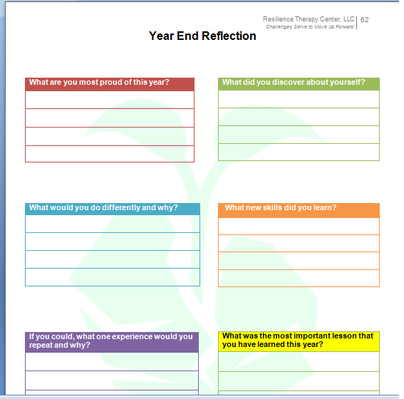 My Resilience Planner 2018 - Year Reflection