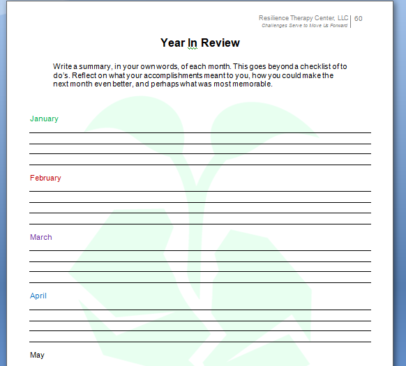 My Resilience Planner 2018 - Year Review