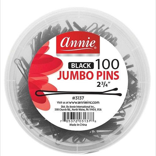 Annie Black Jumbo Pins (100)