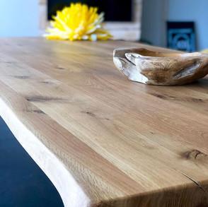Tischplatte aus Eiche massiv mit Stahlbe