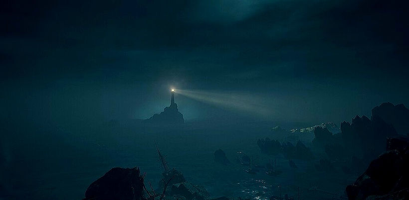 A lighthouse in the distance. Image from the game Call of Cthulhu