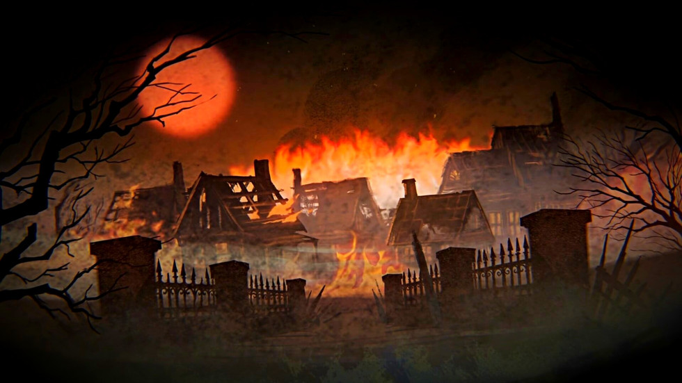 A village burning with a bright red moon in the background. Image from the introduction of the game Grim Dawn