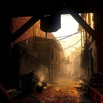 An alley on the city of Serene from the game GreedFall