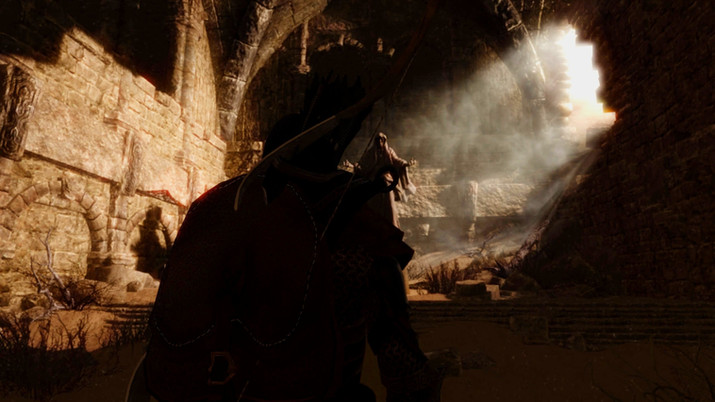Mysterious, long-forgotten place with a beam of sunglight breaking the gloomy atmosphere from the temple-looking dungeon from the game Enderal: Forgotten Stories
