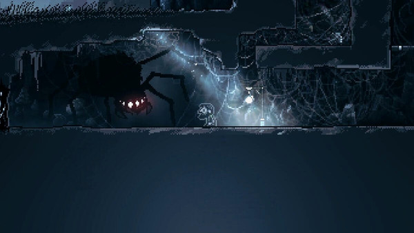 A gloomy cave from the game Inmost with a giant menacing spider with glowing red eyes looking directly to the playable character standing at the side of a beam of light from the surface