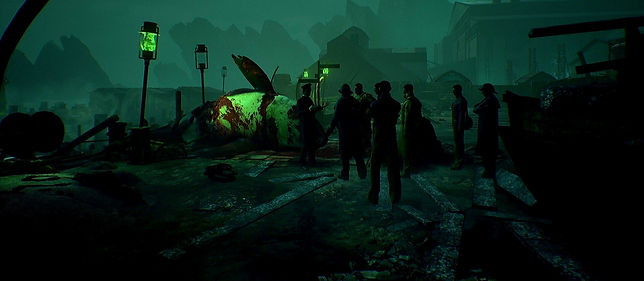 A small crowd in front of a dead killer whale in a gloomy port. Image from the game Call of Cthulhu