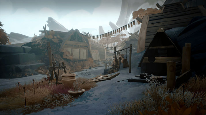 An outpost on the game Ashen fully rebuild with wooden houses in an dusty / snowy mountainous area