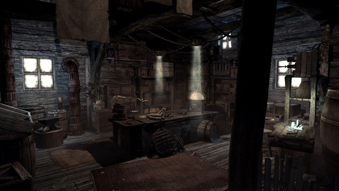 Gloomy, cozy-looking wooden house from the game Enderal: Forgotten Stories.