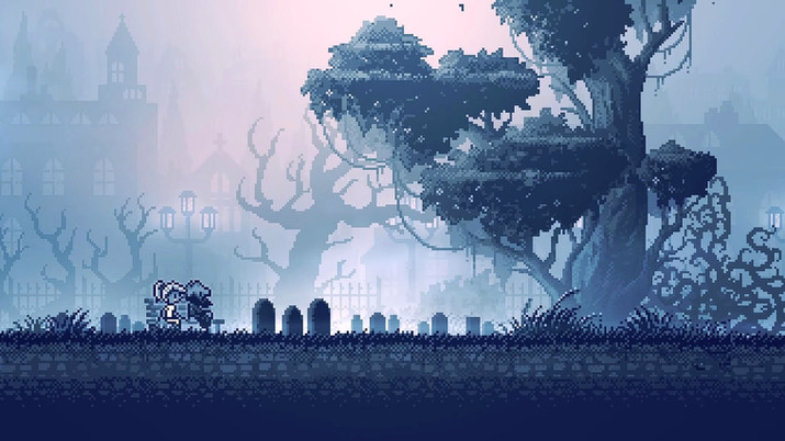 Two characters from the game inmost sitting together in front of the grave of their families