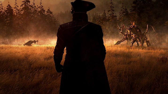 GreedFall art the main character watching two other characters fight each other