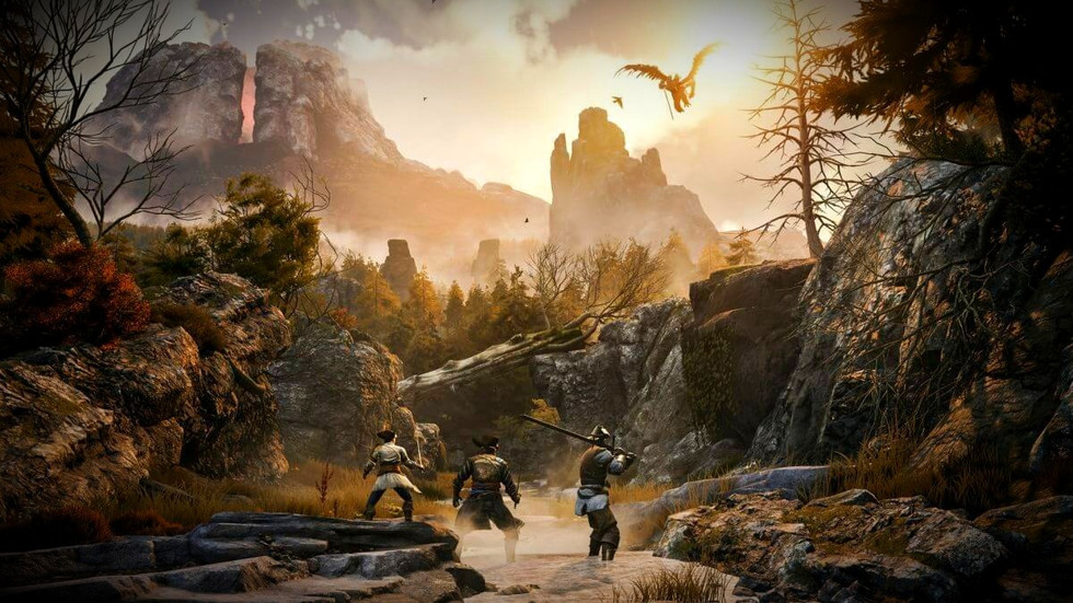 Art from the game GreedFall with three of the main characters fighting flying monsters in a mountainous region