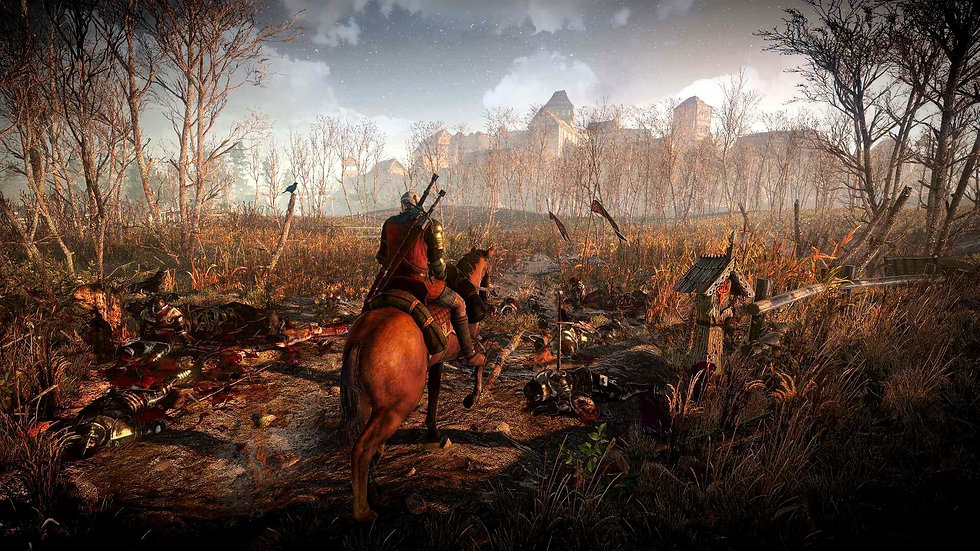 Geralt from the game The Witcher 3: Wild Hunt passing through a battlefield full of deceased, fallen bodies of soldiers.