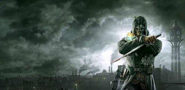 The cover photo of the game Dishonored that contains the game's main character Corvo Attano