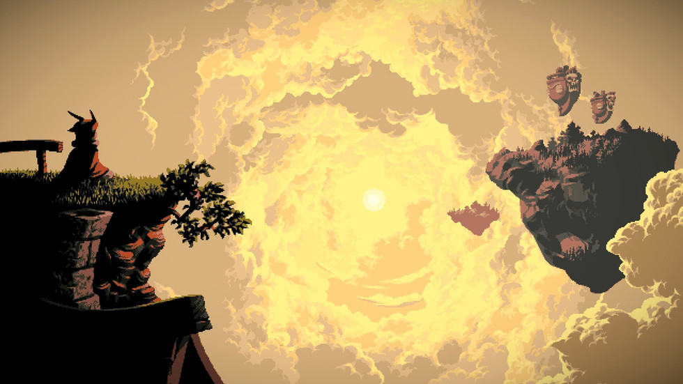Mainscreen from the game Owlboy with Otus watching the sun at the edge of a cliff
