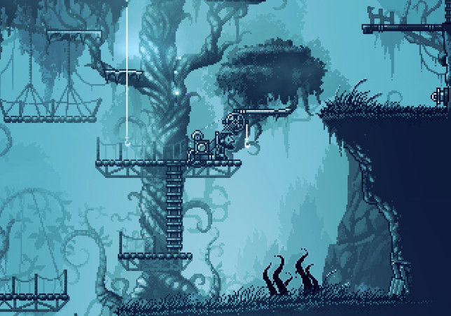 One of the characters from the game Inmost sitting in a wooden platform on the trunk of a tree