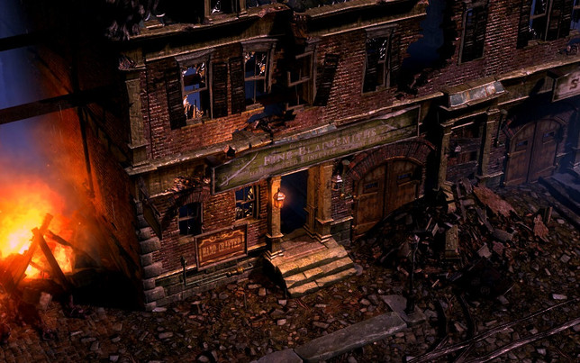 A destroyed house from a city called Malmouth from the game Grim Dawn