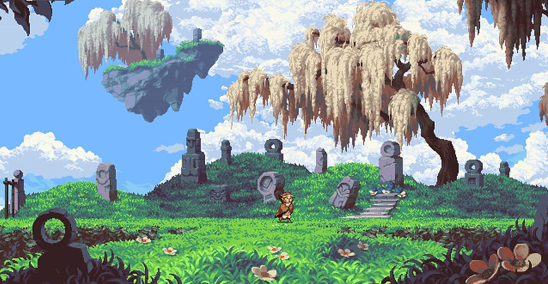 Otus, the main character from the game Owlboy sad in a cemetery